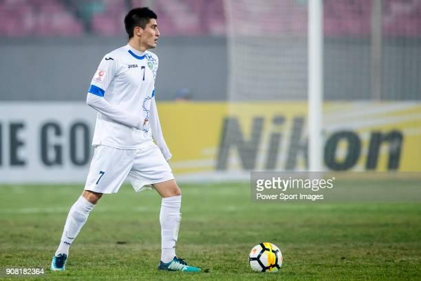 Odiljon Xamrobekov of Uzbekistan in action during the AFC U23 Championship China 2018 Quarterfinals match between Japan and Uzbekistan at Jiangyin...