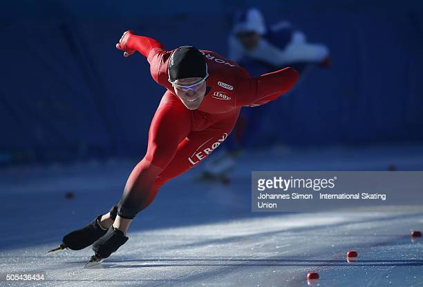 Odin By Farstad of Norway competes in the men 1000 m heats during day 2 of ISU speed skating junior world cup at ice rink Pine stadium on January 17...