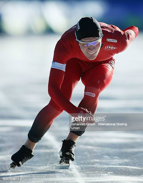 Odin By Farstad of Norway participates in the men 1500 m heats during day 1 of ISU speed skating junior world cup at ice rink Pine stadium on January...