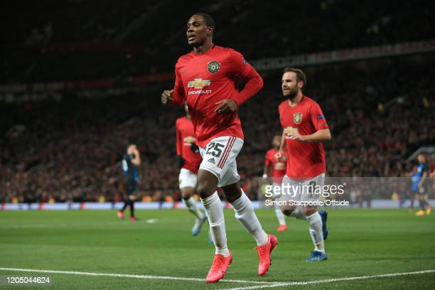 Odion Ighalo of Man Utd celebrates after scoring their 2nd goal during the UEFA Europa League round of 32 second leg match between Manchester United...