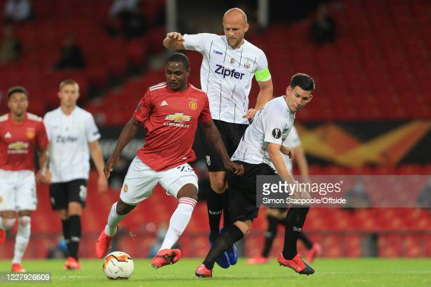 Odion Ighalo of Man Utd, Gernot Trauner and Peter Michorl of LASK during the UEFA Europa League round of 16 second leg match between Manchester...