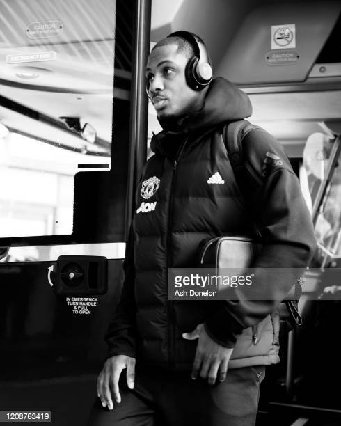 Odion Ighalo of Manchester United arrives ahead of the Premier League match between Manchester United and Watford FC at Old Trafford on February 23...