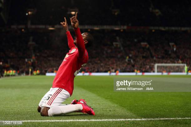 Odion Ighalo of Manchester United celebrates after scoring a goal to make it 2-0 during the UEFA Europa League round of 32 second leg match between...
