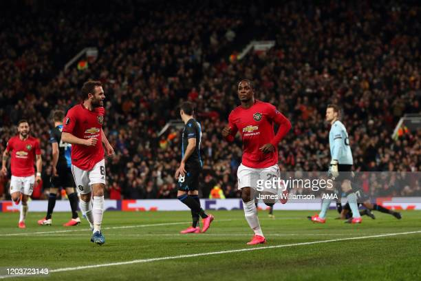 Odion Ighalo of Manchester United celebrates after scoring a goal to make it 20 during the UEFA Europa League round of 32 second leg match between...