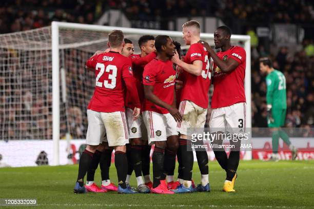 Odion Ighalo of Manchester United celebrates after scoring a goal to make it 03 during the FA Cup Fifth Round match between Derby County and...