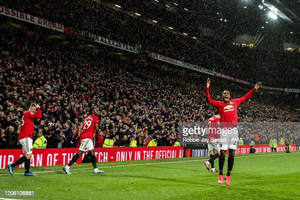 Odion Ighalo of Manchester United celebrates after Scott McTominay of Manchester United scores a goal to make it 2-0 during the Premier League match...