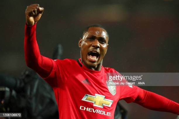 Odion Ighalo of Manchester United celebrates at full time during the Premier League match between Manchester United and Manchester City at Old...