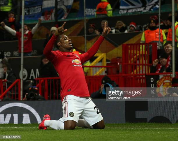 Odion Ighalo of Manchester United celebrates scoring their second goal during the UEFA Europa League round of 32 second leg match between Manchester...