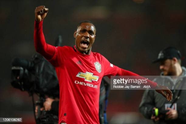Odion Ighalo of Manchester United celebrates the 2-0 victory during the Premier League match between Manchester United and Manchester City at Old...