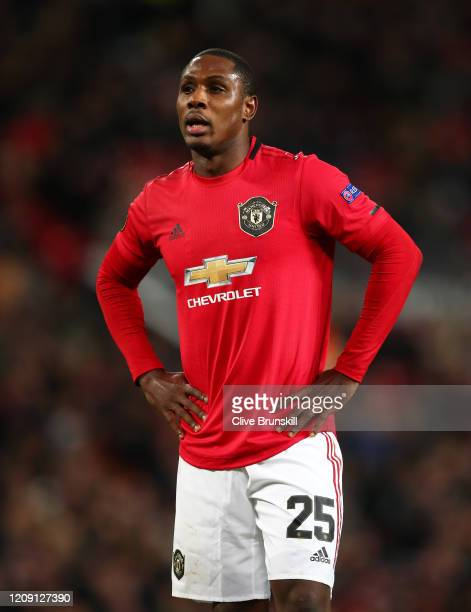 Odion Ighalo of Manchester United in action during the UEFA Europa League round of 32 second leg match between Manchester United and Club Brugge at...