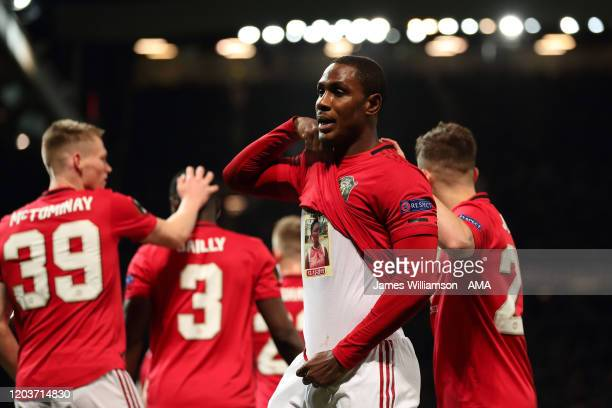 Odion Ighalo of Manchester United lifts his shirt to reveal a tribute whole celebrateing after scoring a goal to make it 2-0 during the UEFA Europa...