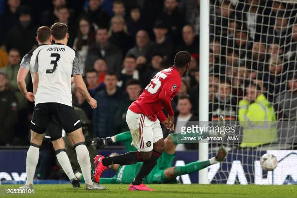Odion Ighalo of Manchester United scores a goal to make it 02 during the FA Cup Fifth Round match between Derby County and Manchester United at Pride...