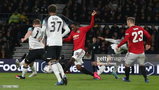 Odion Ighalo of Manchester United scores their second goal during the FA Cup Fifth Round match between Derby County and Manchester United at Pride...