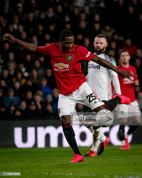 Odion Ighalo of Manchester United scores their third goal during the FA Cup Fifth Round match between Derby County and Manchester United at Pride...