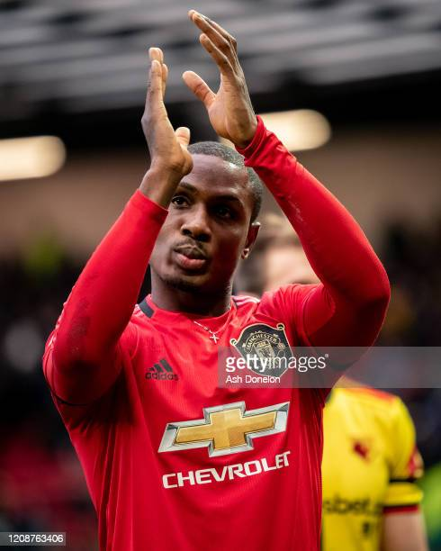 Odion Ighalo of Manchester United walks off after the Premier League match between Manchester United and Watford FC at Old Trafford on February 23...