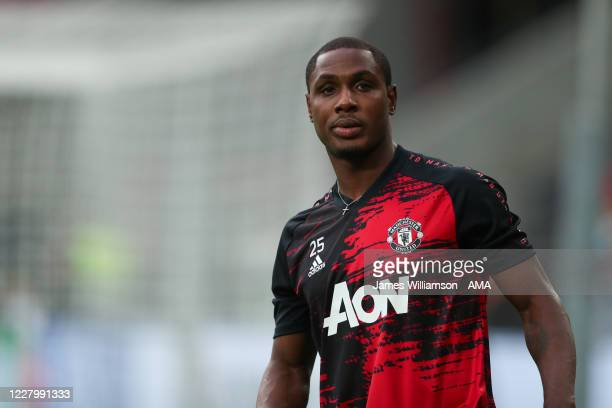 Odion Ighalo of Manchester United warms up prior to the UEFA Europa League Quarter Final between Manchester United and FC Kobenhavn at...