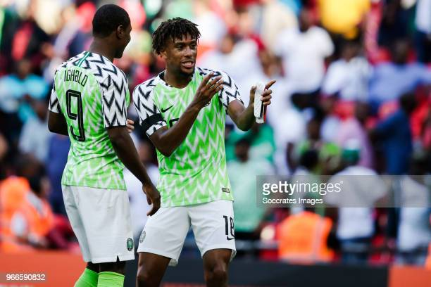 Odion Ighalo of Nigeria Alex Iwobi of Nigeria during the International Friendly match between England v Nigeria at the Wembley Stadium on June 2 2018...