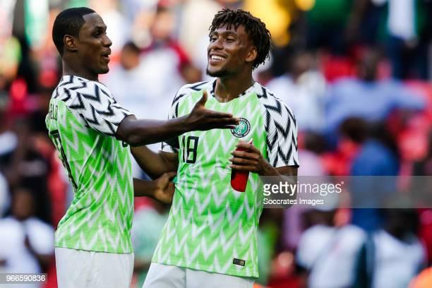 Odion Ighalo of Nigeria Alex Iwobi of Nigeria during the International Friendly match between England v Nigeria at the Wembley Stadium on June 2 2018...