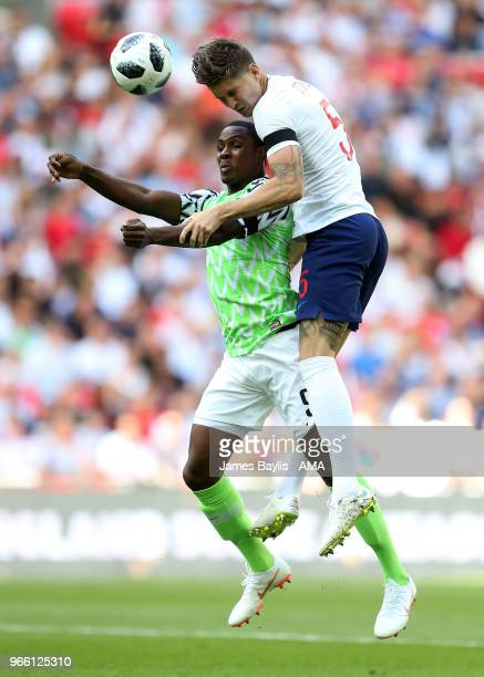Odion Ighalo of Nigeria and John Stones of England during the International Friendly between England and Nigeria at Wembley Stadium on June 2 2018 in...