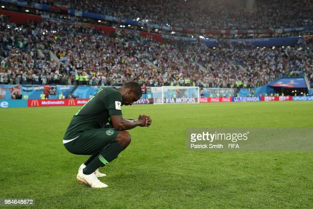 Odion Ighalo of Nigeria looks dejected following the 2018 FIFA World Cup Russia group D match between Nigeria and Argentina at Saint Petersburg...