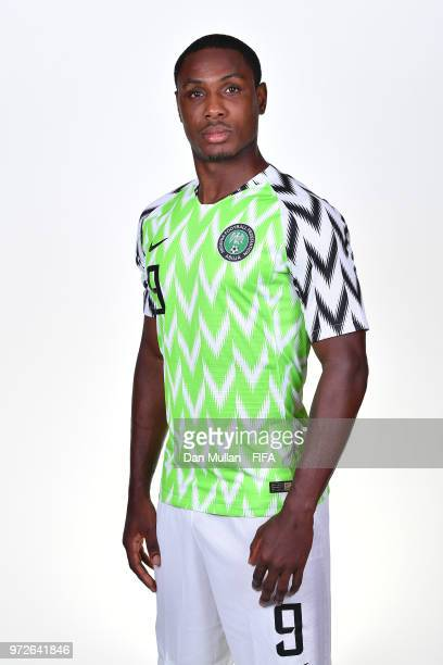 Odion Ighalo of Nigeria poses for a portrait during the official FIFA World Cup 2018 portrait session on June 12 2018 in Yessentuki Russia