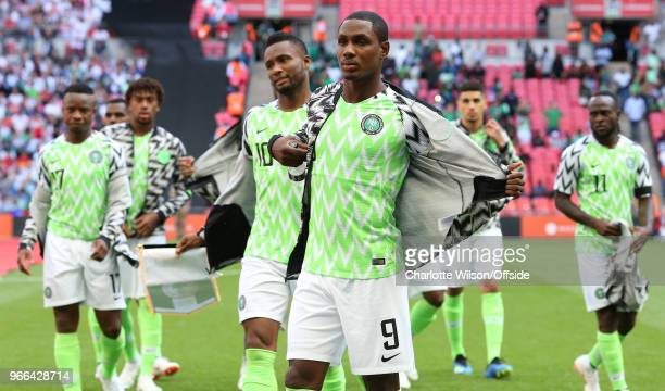Odion Ighalo of Nigeria removes his jacket ahead of kick off during the International Friendly between England and Nigeria at Wembley Stadium on June...