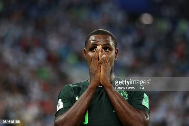 Odion Ighalo of Nigeria shows his dejection following the 2018 FIFA World Cup Russia group D match between Nigeria and Argentina at Saint Petersburg...