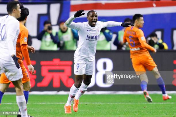 Odion Ighalo of Shanghai Greenland Shenhua reacts during 2019 Chinese Football Association Cup final match between Shanghai Greenland Shenhua and...