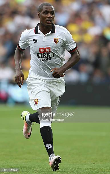 Odion Ighalo of Waford in action during the Premier League match between West Ham United and Watford at the Olympic Stadium on September 10 2016 in...