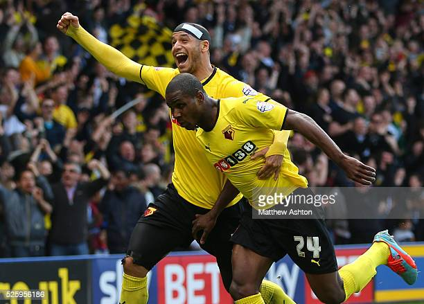 Odion Ighalo of Watford celebrates after he scores a goal to make it 20 with Adlene Guedioura of Watford