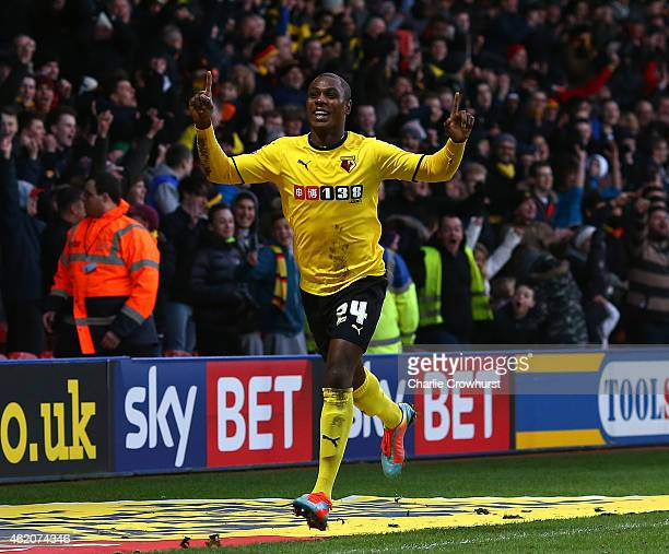 Odion Ighalo of Watford celebrates after he scores the teams sixth goal of the game and his second during the Sky Bet Championship match between...