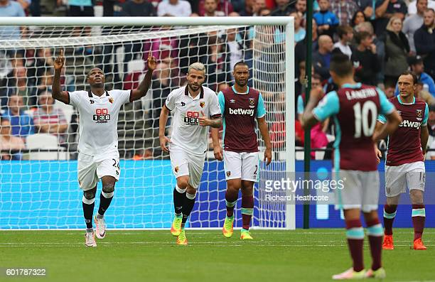 Odion Ighalo of Watford celebrates scoring his sides first goal during the Premier League match between West Ham United and Watford at Olympic...