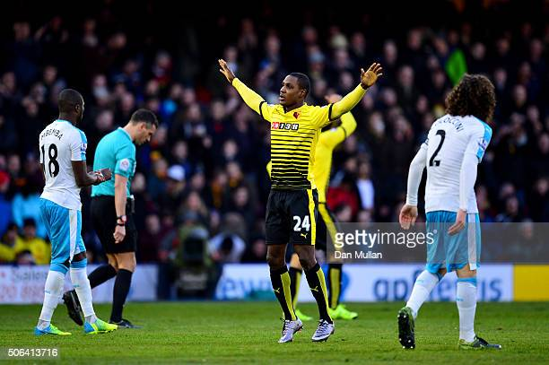 Odion Ighalo of Watford celebrates scoring his team's first goal during the Barclays Premier League match between Watford and Newcastle United at...