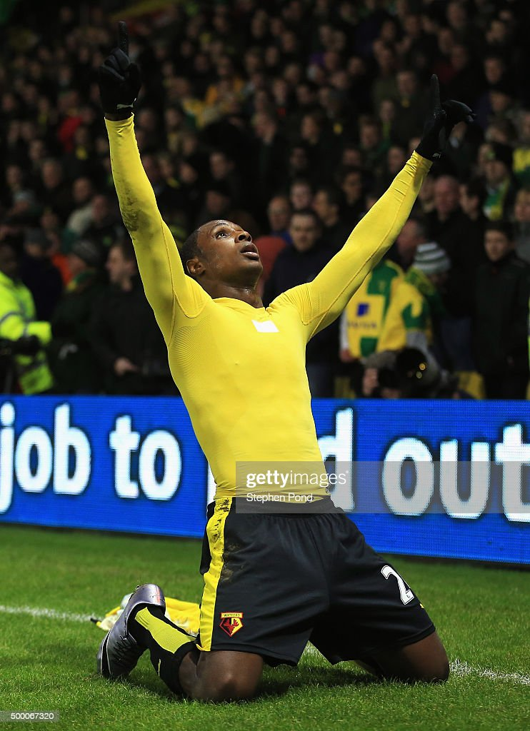 Odion Ighalo of Watford celebrates scoring his team's second goal during the Barclays Premier League match between Watford and Norwich City at Vicarage Road on December 5, 2015 in Watford, England.