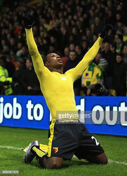Odion Ighalo of Watford celebrates scoring his team's second goal during the Barclays Premier League match between Watford and Norwich City at...