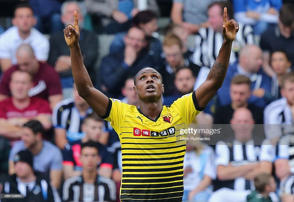 Odion Ighalo of Watford celebrates scoring his team's second goalduring the Barclays Premier League match between Newcastle United and Watford at St James' Park on September 19, 2015 in Newcastle upon Tyne, United Kingdom.