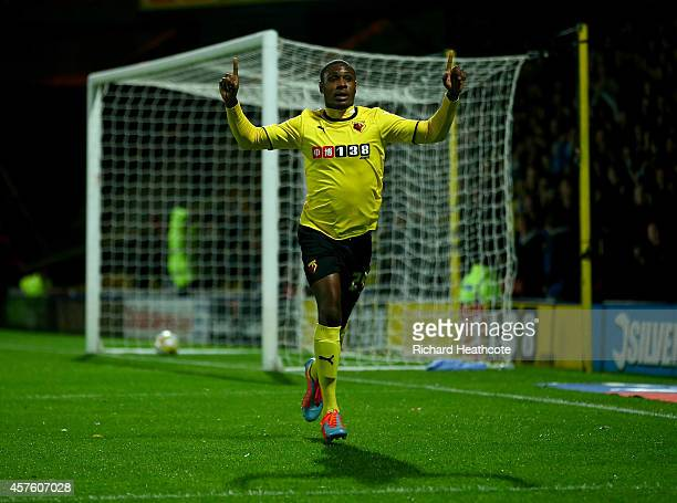 Odion Ighalo of Watford celebrates scoring the first goal during the Sky Bet Championship match between Watford and Nottingham Forest at Vicarage...