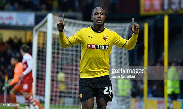 Odion Ighalo of Watford celebrates scoring the fourth goal during the Sky Bet Championship match between Watford and Charlton Athletic at Vicarage...