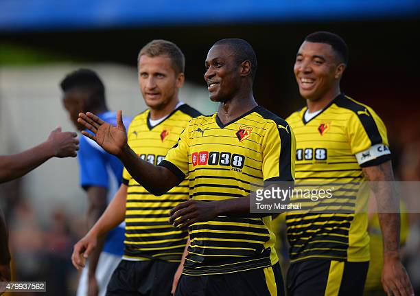 Odion Ighalo of Watford celebrates scoring their second goal during the Pre Season Friendly match between St Albans City and Watford at Clarence Park...