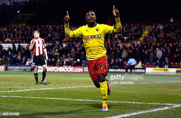 Odion Ighalo of Watford celebrates scoring Watford's first goal during the Sky Bet Championship match between Brentford and Watford at Griffin Park...
