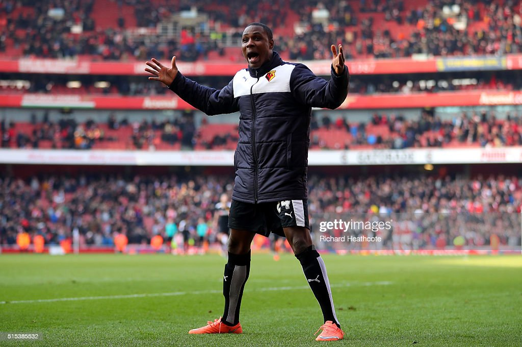 Odion Ighalo of Watford celebrates victory after the Emirates FA Cup sixth round match between Arsenal and Watford at Emirates Stadium on March 13, 2016 in London, England.