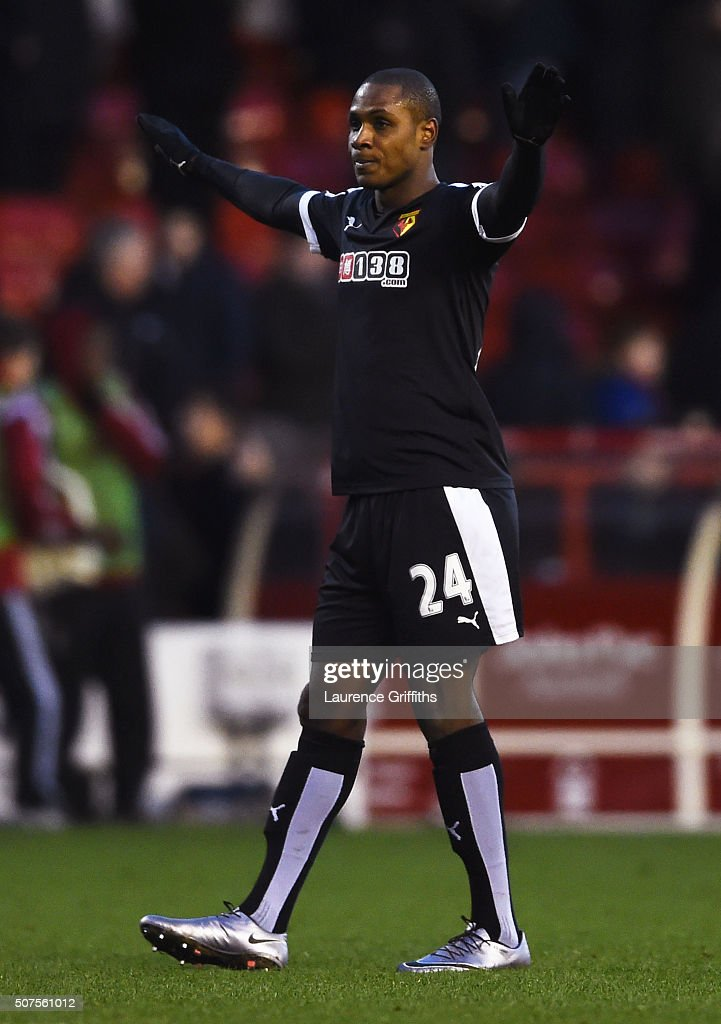 Odion Ighalo of Watford celebrates winning The Emirates FA Cup fourth round between Nottingham Forest and Watford at City Ground on January 30, 2016 in Nottingham, England.