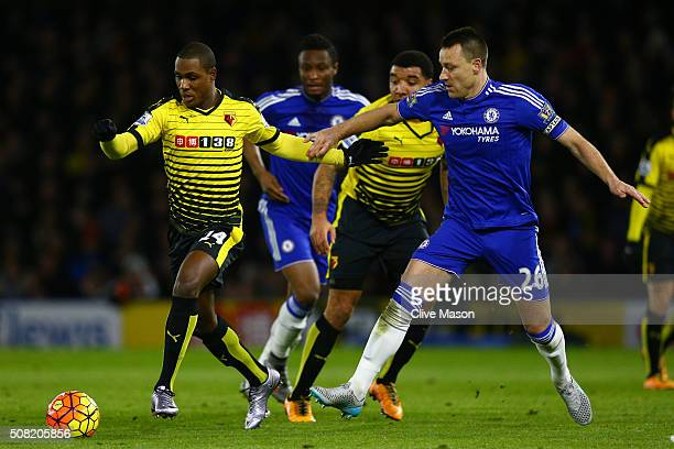 Odion Ighalo of Watford goes past John Terry of Chelsea during the Barclays Premier League match between Watford and Chelsea at Vicarage Road on...