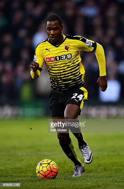 Odion Ighalo of Watford makes a break during the Barclays Premier League match between Watford and Newcastle at Vicarage Road on January 23 2016 in...