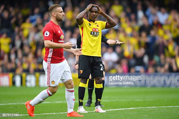 Odion Ighalo of Watford reacts after missing a chance to score his sides first goal of the game during the Premier League match between Watford and...