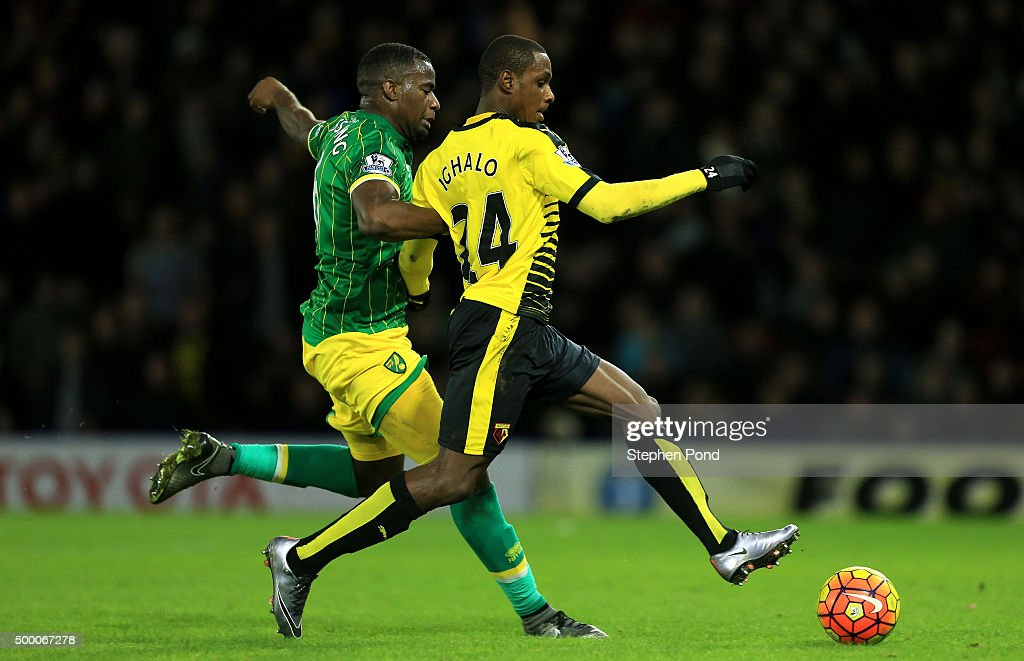 Odion Ighalo of Watford scores his team's second goal during the Barclays Premier League match between Watford and Norwich City at Vicarage Road on December 5, 2015 in Watford, England.