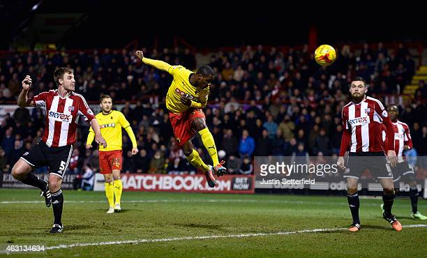 Odion Ighalo of Watford scores Watford's first goal during the Sky Bet Championship match between Brentford and Watford at Griffin Park on February...
