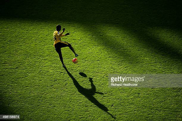 Odion Ighalo of Watford warms up prior to the Barclays Premier League match between Watford and Manchester United at Vicarage Road on November 21...