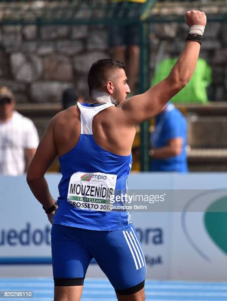 Odisseas Mouzenidis of Greece celebrates after Shot Put Men during European Athletics U20 Championships on July 21 2017 in Grosseto Italy