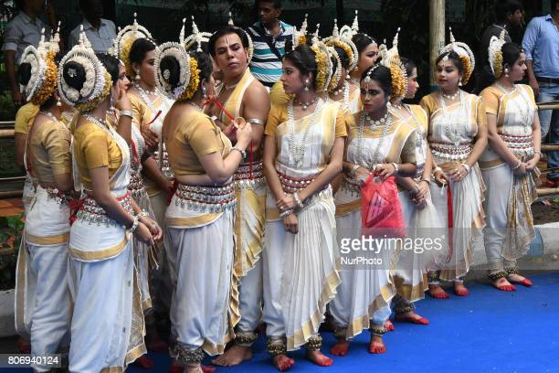 Odissi dancer wait to perform on the last day of the week long Rathyatra celebration of Lode Jagannath's Rath Yatra on July 032107 in KolkataIndia